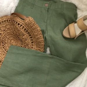 Anthropologie green linen pants